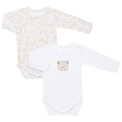 Imagem 1 do produto Pack: 02 Bodies longos para bebe em algodão egípcio c/ jato de cerâmica Nature Little Friends - Mini & Classic - 1023650 PACK 2 BODIES ML SUEDINE NATURE -RN