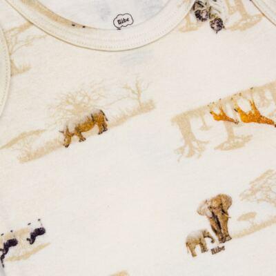 Imagem 3 do produto Regata com Cobre Fralda em algodão egípcio Safari - Bibe - 38G02-G57 CJ. Curto Regata Cobre Fraldas Marfim-G