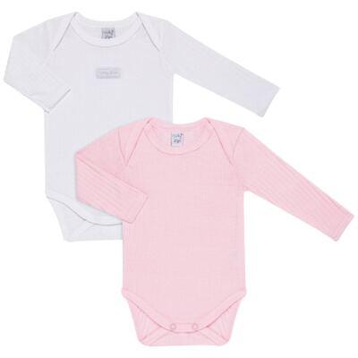 Imagem 1 do produto Pack 2 Bodies longos para bebe Sleep Comfort Branco/Rosa - Vicky Lipe - 10140001.30 PACK 2 BODIES M/L TRANSPASSADO - SUEDINE-1