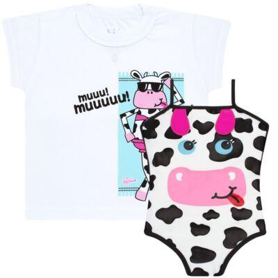 Imagem 1 do produto Conjunto de banho Vaquinha: Maiô + Camiseta - Cara de Criança - KIT1-1260: MB1260 MAIO + CCA1260 CAMISETA VAQUINHA-1