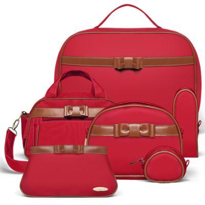 Imagem 1 do produto Kit Mala Maternidade para bebe + Frasqueira Térmica Kent +  Kit Acessórios + Necessaire Laço Caramel Vermelho - Classic for Baby Bags