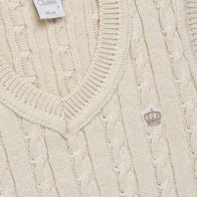 Imagem 2 do produto Colete trançado para bebe em tricot Bege - Mini & Classic - 4507650 COLETE TRANCADO TRICO NATURE-G