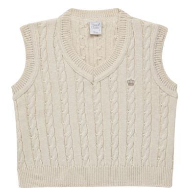 Imagem 1 do produto Colete trançado para bebe em tricot Bege - Mini & Classic - 4507650 COLETE TRANCADO TRICO NATURE-M