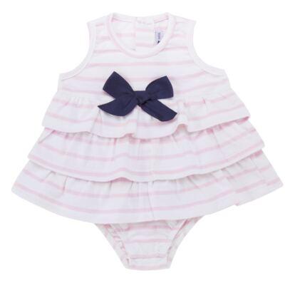 Imagem 1 do produto Body Vestido para bebe em suedine Lolita - Mini Sailor - 01224441 BODY VESTIDO C/LACOS SUEDINE ROSA BEBE-3-6
