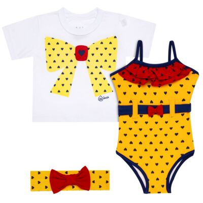 Imagem 1 do produto Conjunto de Banho Coraçõezinhos: Camiseta + Maiô + Tiara - Cara de Criança - KIT 1 1883CCA+M CORACOES-1