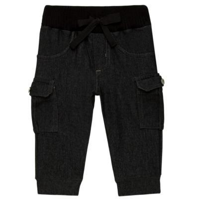 Imagem 1 do produto Calça Cargo jeans para bebe em fleece Black - Petit - 41154308 CALÇA C/ BOLSA LATERAIS FLEECE SAFARI -1