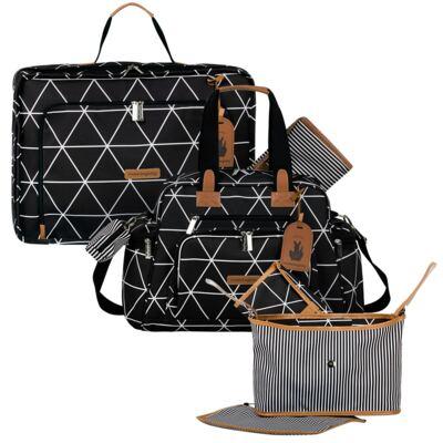 Imagem 1 do produto Mala maternidade Vintage + Bolsa Everyday + Frasqueira Organizadora Manhattan Preta - Masterbag