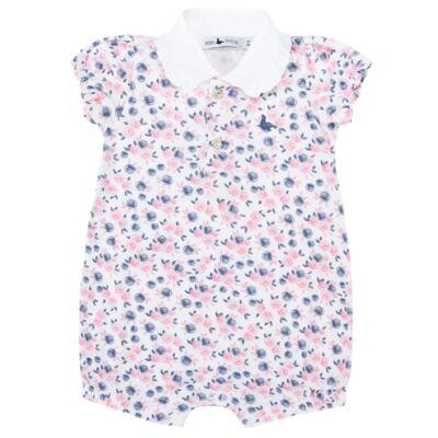 Imagem 1 do produto Macacão curto para bebe em cotton Flourish - Mini Sailor - 21994440 MACACAO M/C C/GOLA RIB/COTTON FLORAL ROSA-0-3