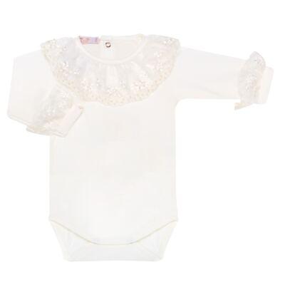 Imagem 1 do produto Body longo para bebe em malha Renda Marfim - Roana - 01640002031 BODY LONGO AVULSO ESPECIAL MARFIM-P