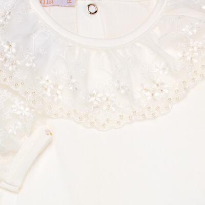 Imagem 3 do produto Body longo para bebe em malha Renda Marfim - Roana - 01640002031 BODY LONGO AVULSO ESPECIAL MARFIM-P