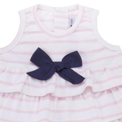 Imagem 2 do produto Body Vestido para bebe em suedine Lolita - Mini Sailor - 01224441 BODY VESTIDO C/LACOS SUEDINE ROSA BEBE-6-9