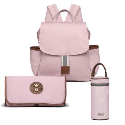 Imagem 1 do produto Mochila maternidade + Trocador + Porta mamadeira Adventure em sarja Rosa - Classic for Baby Bags
