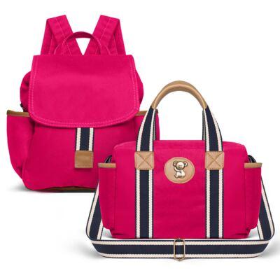 Imagem 1 do produto Bolsa Térmica para bebe + Mochila Adventure em sarja Pink - Classic for Baby Bags