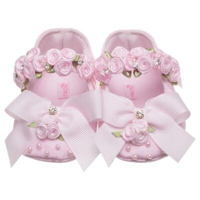 Imagem 1 do produto Sapatilha para bebe em cetim Laço & Flores Rosa - Roana - 20040038046 SAPATILHA LUXO ROSA-RN