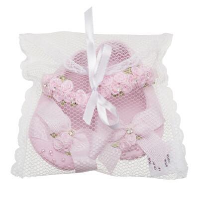 Imagem 3 do produto Sapatilha para bebe em cetim Laço & Flores Rosa - Roana - 20040038046 SAPATILHA LUXO ROSA-M