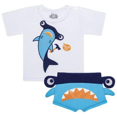 Imagem 1 do produto Conjunto de Banho Tubarão Martelo: Camiseta + Sunga - Cara de Criança - KIT 1 2910: SB2910 + CCA2910 SUNGA BOXER E CAMISETA TUBARAO MARTELO-3