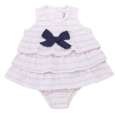 Imagem 1 do produto Body Vestido para bebe em suedine Lolita - Mini Sailor - 01224441 BODY VESTIDO C/LACOS SUEDINE ROSA BEBE-9-12