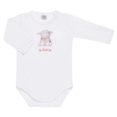 Imagem 2 do produto Body longo com Calça para bebe em suedine Ovelhinha Rosa - Petit - 17924344 CONJ BODY M/L MIJAO REV SUEDINE OVELHA FEM-G
