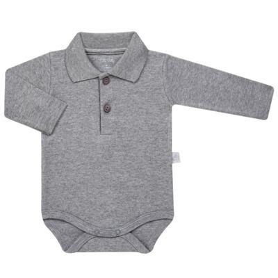 Imagem 1 do produto Body Polo longo para bebe em suedine Mescla - Tilly Baby - TB13102.06 BODY POLO MANGA LONGA MESCLA-P
