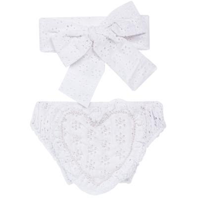 Imagem 1 do produto Conjunto de banho para bebê Coração & Pérolas: Bumbum + Faixa de Cabelo - Roana - BASTL927001 BANHO DE SOL TURBANTE LUXO 125 BRANCO-P