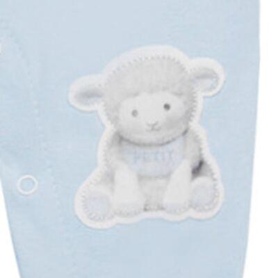 Imagem 3 do produto Macacão Jardineira para bebe em viscomfort suedine Ovelhinha Azul - Petit - 22234345 MACACAO JARDINEIRA MC SUEDINE/CO OVELHA MASC-G