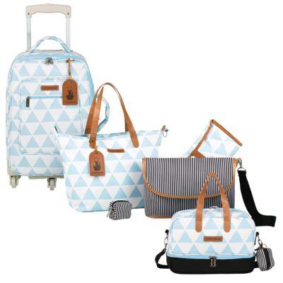 Imagem 1 do produto Mala maternidade com Rodízio + Bolsa 4 em 1 Sofia + Frasqueira térmica Vicky Manhattan Azul - Masterbag
