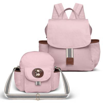 Imagem 1 do produto Mochila maternidade + Frasqueira Adventure em sarja Rosa - Classic for Baby Bags
