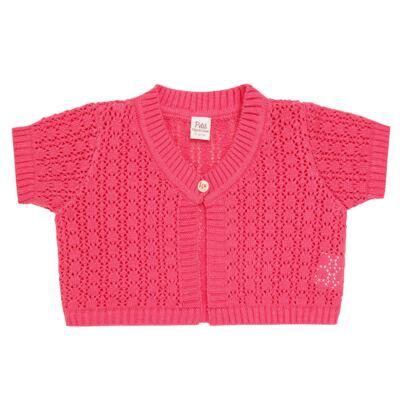 Imagem 1 do produto Bolero curto para bebe em tricot Pink - Petit - 75614423 Bolero m/c Tricot/Can Rosa Candy-3