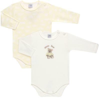 Imagem 1 do produto Pack 2 Bodies longos para bebe em suedine Ursinho - Petit - 10424346 PACK 2 BODIES M/L SUEDINE URSO NEUTRO-RN