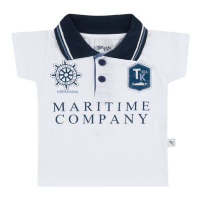 Imagem 2 do produto Camiseta Polo com Bermuda para bebe Maritime Company branca - Time Kids - TK5110.BC CONJUNTO CAMISETA C/SHORTS BRANCO/AZUL-P