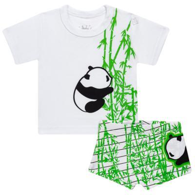 Imagem 1 do produto Conjunto de Banho para bebe  Pandite: Camiseta + Sunga - Cara de Criança - KIT 1 2530: SBB2530+CCAB2530 SUNGA E CAMISETA BB PANDA-P
