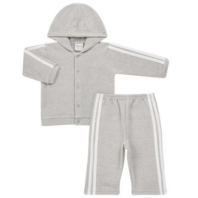 Imagem 1 do produto Casaco c/ capuz e Calça para bebe em soft Cinza - Tilly Baby - TB0172020.06 CONJ. CASACO COM CALÇA SOFT CINZA-3