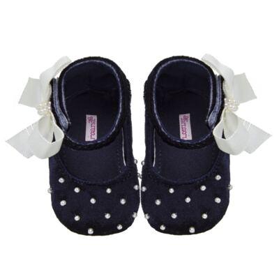 Imagem 1 do produto Sapatilha para bebe em veludo Pérolas & Laço Marinho - Roana - 20032014008 Sapatinha Luxo Perólas Marinho-RN