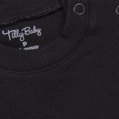 Imagem 2 do produto Body longo para bebe em suedine Preto - Tilly Baby - TB13111.08 BODY LONGO DE SUEDINE PRETO-3