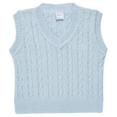 Imagem 1 do produto Colete trançado para bebe em tricot Azul - Mini & Classic - 4507656 COLETE TRANCADO TRICO URSO-G