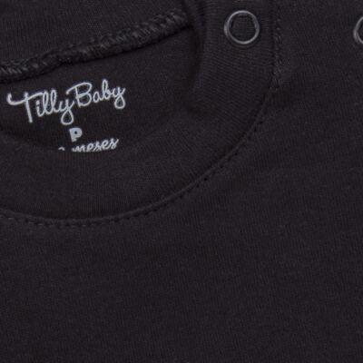 Imagem 2 do produto Body longo para bebe em suedine Preto - Tilly Baby - TB13111.08 BODY LONGO DE SUEDINE PRETO-GG