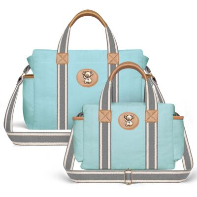 Imagem 1 do produto Bolsa Maternidade para bebe Albany + Frasqueira Térmica Gold Coast em sarja Adventure Azul - Classic for Baby Bags
