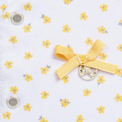 Imagem 2 do produto Macacão longo para bebe em algodão egípcio c/ jato de cerâmica Daisy - Mini & Classic - 2042657 MACACAO ML C/ REVEL SUEDINE FLORAL AMARELO-G