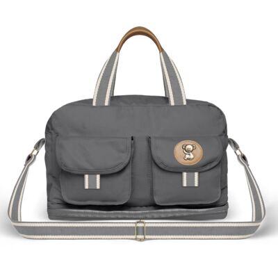 Imagem 2 do produto Bolsa Maternidade para Ibiza + Porta Mamadeira  em sarja Adventure Chumbo - Classic for Baby Bags
