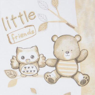 """Imagem 2 do produto Macacão longo c/ abertura """"S"""" para bebe em algodão egípcio Nature Little Friends - Mini & Classic - MCPR650 MACACAO S C/ PE REVERSIVEL SUEDINE NATURE-M"""
