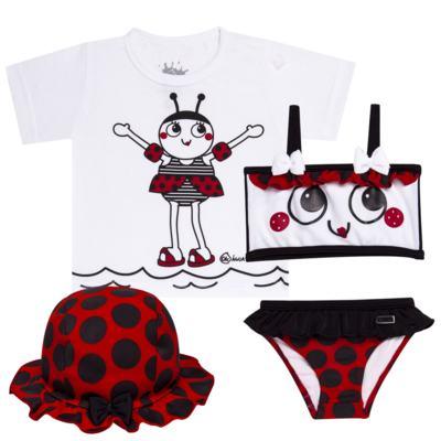Imagem 1 do produto Conjunto de Banho Joaninha: Camiseta + Biquíni + Chapéu - Cara de Criança - KIT 1 1919 CCAB+BB+CH JOANINHA-P
