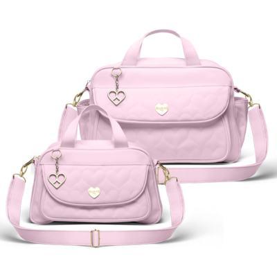 Imagem 1 do produto Kit Bolsa maternidade para bebe Málaga + Frasqueira Valência Corações Matelassê Rosa -  Classic for Baby Bags