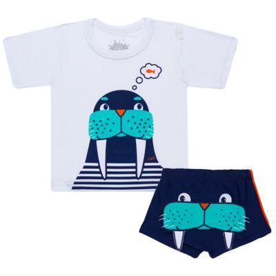 Imagem 1 do produto Conjunto de Banho Morsa: Camiseta + Sunga - Cara de Criança - KIT 2 2532: SB2532+CCA2532 SUNGA E CAMISETA MORSA-4
