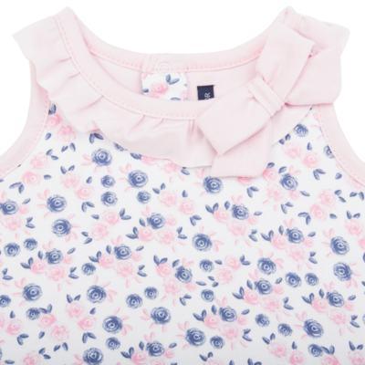 Imagem 2 do produto Body Vestido para bebe em cotton Flourish - Mini Sailor - 01244440 BODY VESTIDO C/LACO COTTON FLORAL ROSA-0-3