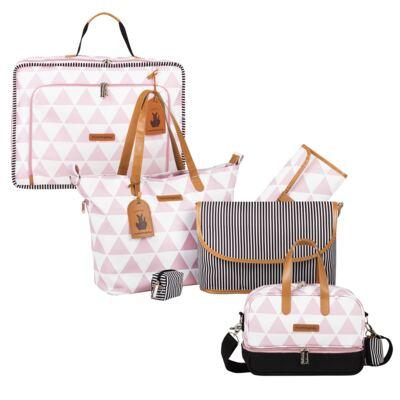 Imagem 1 do produto Mala maternidade Vintage + Bolsa 4 em 1 Sofia + Frasqueira térmica Vicky Manhattan Rosa - Masterbag