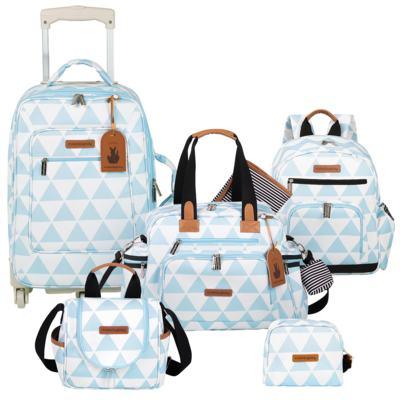 Imagem 1 do produto Mala Maternidade com Rodízio  + Bolsa Everyday  + Frasqueira térmica Emy + Mochila Noah + Necessaire Manhattan Azul - Masterbag