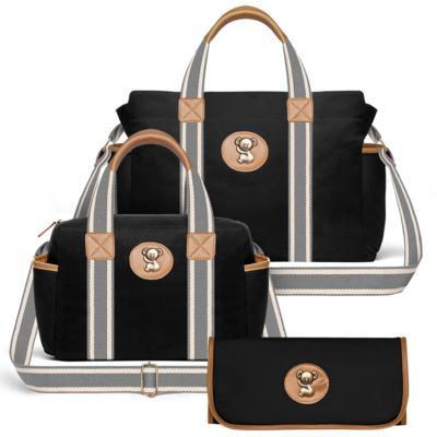 Imagem 1 do produto Bolsa Maternidade para bebe Albany + Frasqueira Térmica Gold Coast + Trocador Portátil em sarja Adventure Preta - Classic for Baby Bags