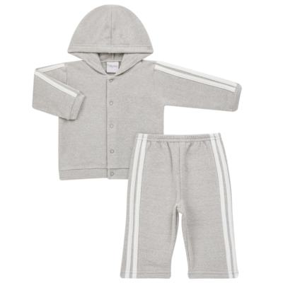 Imagem 1 do produto Casaco c/ capuz e Calça para bebe em soft Cinza - Tilly Baby - TB0172020.06 CONJ. CASACO COM CALÇA SOFT CINZA-GG