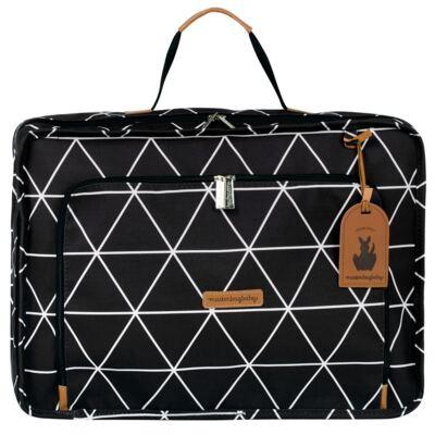 Imagem 2 do produto Mala maternidade Vintage + Bolsa 4 em 1 Sofia + Frasqueira térmica Vicky Manhattan Preta - Masterbag