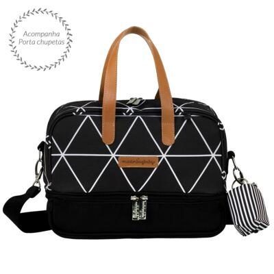 Imagem 4 do produto Mala maternidade Vintage + Bolsa 4 em 1 Sofia + Frasqueira térmica Vicky Manhattan Preta - Masterbag